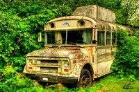 Old School Bus rRocher Rouge Camp Ground Killarney